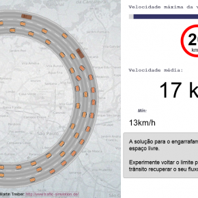 Simulador de trânsito mostra relação entre velocidade e engarrafamentos