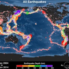Animação mostra os terremotos dos últimos 15 anos