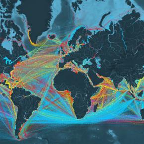 Mapa interativo mostra os fluxos de navios cargueiros pelo mundo